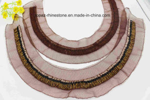 Fashion Neck Trim Rhinestone Neckline Patch Beaded Mesh Neck Patch (TA-029) pictures & photos