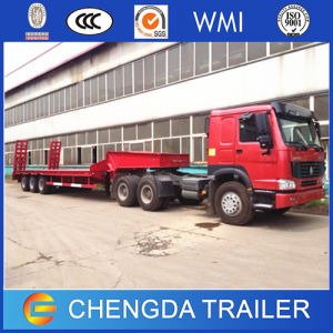 3 Axle Extendable Low Bed Gooseneck Semi Trailer pictures & photos