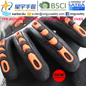 Cut-Resistance and Anti-Impact TPR Gloves, 18g Hppe Shell Cut-Level 3, Sandy Nitrile Palm Coated, Anti-Impact TPR on Back Mechanic Gloves pictures & photos