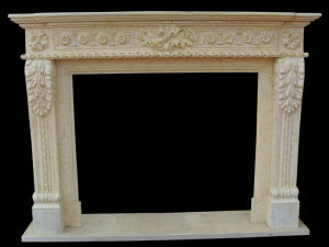 Beige Marble Fireplace (FRP366) pictures & photos