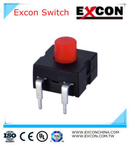 Electrical Flashlight Tact Switch Excon Push Button Switch with Red Cap pictures & photos