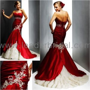 Strapless Red Taffeta Bridal Wedding Dress Sweetheart Gold Lace Mermaid Wedding Gown (C41) pictures & photos