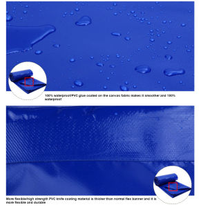 UV-Resistant Durable Kinfe-Coated PVC Tarp/Tarpaulin for Tent pictures & photos