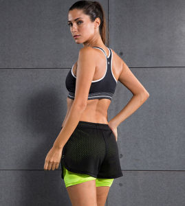 Athletic Running Women′s Mesh High Quality Four Way Stretch Yoga Shorts pictures & photos