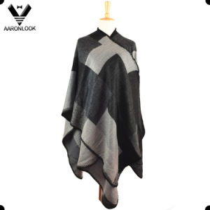 2017 New Style Acrylic Oversized Woven Patchwork Poncho pictures & photos