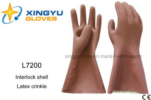 Latex Crinkle Interlock Shell Safety Work Glove (L7200) pictures & photos