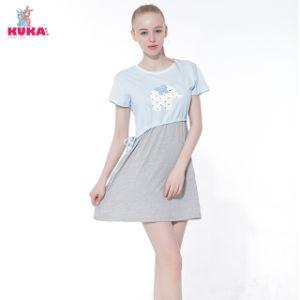 Kuka Cartoon Elephant Short T-Shirt Dress Pajama Cute Elegant