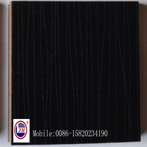 Black Wooden Line Kitchen Cabinet Door From UV MDF (ZH-3921) pictures & photos