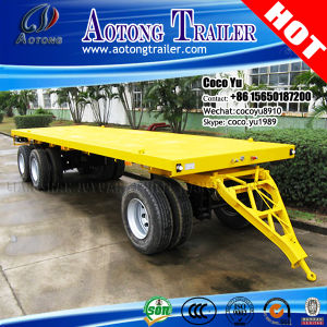 2 Axles Full Type Container Flatbed Draw Bar Trailer pictures & photos