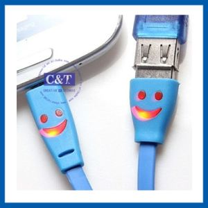 Smiley Face Micro USB Lighting Cable for iPhone 5s pictures & photos