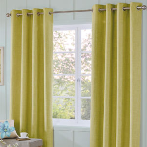 Linen Like Eyelet Curtain Made of 100% Polyester