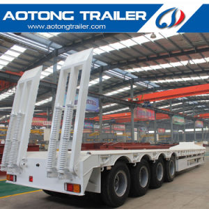 100 Tons Heavy Excavator Transport Lowboy Trailer, 3 Line 6 Axle Low Boy Semi Trailer pictures & photos