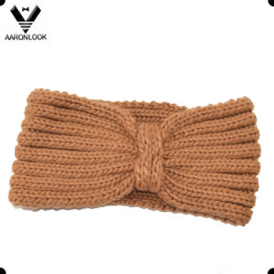 Lady′s Solid Brown Thick Knitted Winter Headband pictures & photos