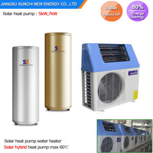 Home Using 60deg. C Hot Water Save 80% Power Cop5.32 5kw, 7kw, 9kw Air Heat Pump Hybrid Solar-Powered Atmospheric Water Generator pictures & photos