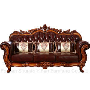 Leather Sofa with Wooden Table for Living Room Furniture (619) pictures & photos