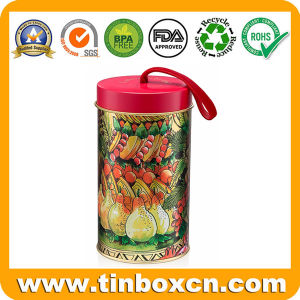 Cylindrical Gift Tin Box Metal Can Christmas Tin with String pictures & photos