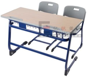 Metal School Furniture 2-Seater Desk Chair for Children (SF-08D) pictures & photos