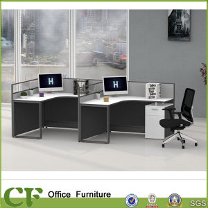 chipboard office l shape 2 person workstation with high partition