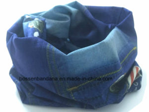 Custom Made Design Denim Style Printed Polyester Promotional Seamless Magic Sports Buff Bandana pictures & photos