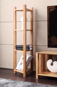 4 Tiers Triangle Bamboo Floor Stand Shelf pictures & photos