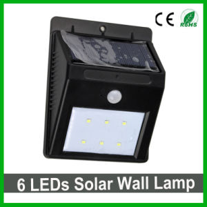 Good Quality 6 LEDs Outdoor Solar LED Wall Light PIR Sensor Solar Garden Light pictures & photos