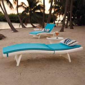Well Furnir White Chaise Lounges Beds Sun Beds with Cushion pictures & photos