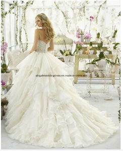 Ball Gown Strapless High Quality Court Train Wedding Dresses Ruffles pictures & photos