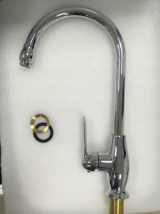 Sanitary Ware Single Hole Waterfall Deck Mounted Chrome Plated Brass Body Kitchen Faucet/Tap (2385) pictures & photos