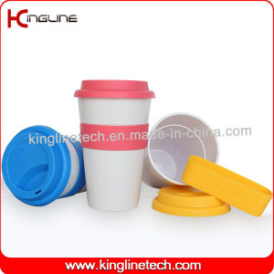 No Leaking 500ml Silicone Coffee Cup with Sillicone Band and Cover OEM (KL-CP004) pictures & photos