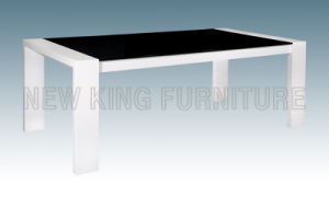 Modern Luxurious Temper Glass Top with Wooden Foot Dining Table (NK-DT052)