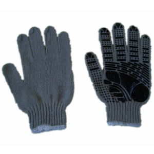 13 Gauge Safety Grey String Knitted Glove with PVC Dotted Glove (JMC-430B) pictures & photos
