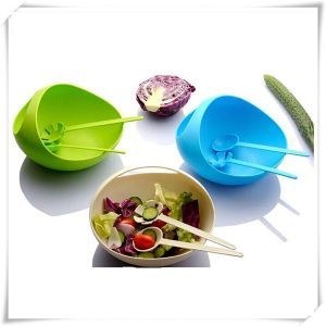 Plastic Salad Bowl with Spoons (VK15001)