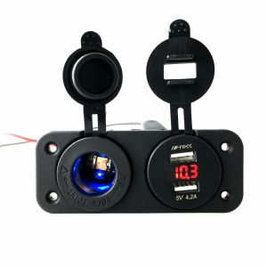 Dual USB Car Boat Charger Socket with Cigarette Lighter pictures & photos
