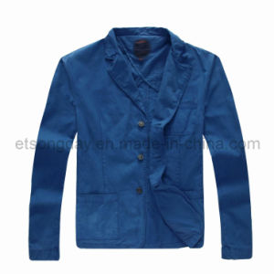 Dark Blue 100% Cotton Men′s Casual Blazer Fashion Jacket (H3224) pictures & photos