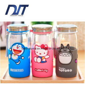 Creative Glass Water Bottle with Silicone Sleeve Width Cup Cartoon pictures & photos