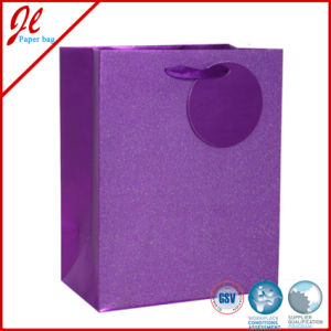 Purple Glister Printed Paper Carrier Bags with Tag pictures & photos