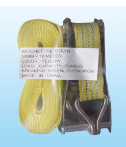 100% Polyester Cargo Lashing with Yellow Strap pictures & photos