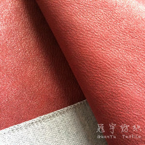 Polyester Coated Leatheroid Upholstery Fabric for Sofa pictures & photos