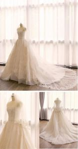 Latest Designer Ivory Elegant A Line Button Back Full Appliques Crystals Lace Sweetheart Alibaba Wedding Dress (MN1254)