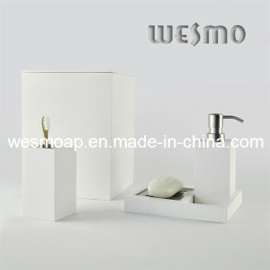 White Washed Finish Bamboo Bath Set (WBB0301D plus waste bin) pictures & photos