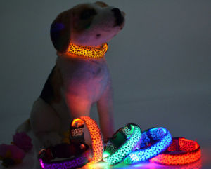 Fashionable Leopard Print USB Rechargeable LED Flashing Dog Collar