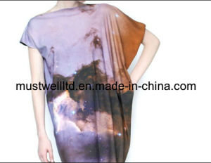 Nebula Galaxy Print Ladies′ Dress (MWNGP13031)