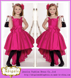 Elegant Taffeta Red Pink Spaghetti Straps Ruched Sleeveless Short Front & Long Back Flower Girl Dress Yj0138 pictures & photos