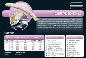 Various Sizes Super V12 Halyad/Sheet&Control Rope for Racing/Keel Boat/Multihull/Yacht/Dinghy