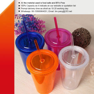 Double Walls Plastic Tumbler with Straw pictures & photos