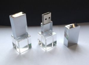 Crystal USB Flash Drive with 3D Logo Engraving (OM-C124) pictures & photos