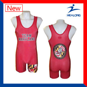 Healong Customized Sublimation Fashion Design Top Sales Wrestling Singlets pictures & photos