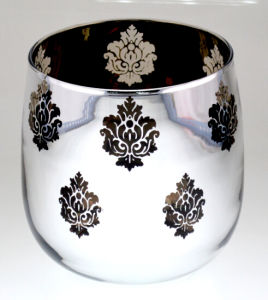 Glass Candle Holder with Flower Pattern Printing pictures & photos
