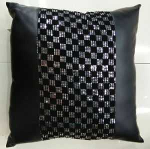 Sequin Embroidery Cushion Fashion PU Decorative Pillow (XPL-18) pictures & photos