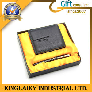 Hot Selling Leather Wallet +Pen Gift Set (KEM-014) pictures & photos